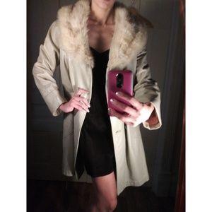 Real fur & leather vintage coat trench long VTG